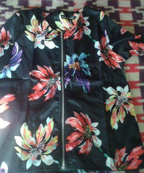 Women Fashion Casual Long Sleeve Floral Print Zip Up Bomber Short Jacket Coat