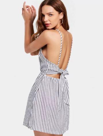 Open Back Striped Cami Dress