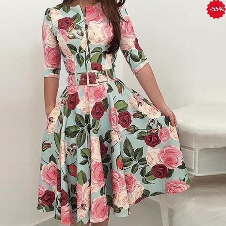 Rochie cu Curea cu Imprimare Florala, Fermoar, pentru Femei, cu Maneci pe Jumatate