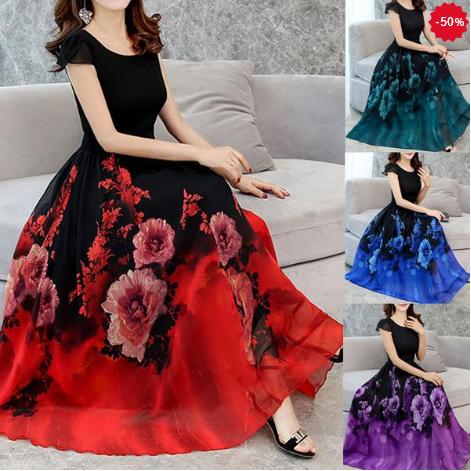 Rochie lungă și elegantă pentru femei, cu mânecă scurtă, imprimeu floral și decolteu rotund